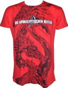 DIE APOKALYPTISCHEN REITER Der Rote Reiter Allover - Rotes-Shirt mit schwarzem-und-weissem-Druck - S