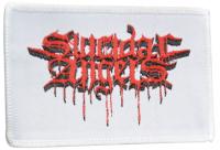 SUICIDAL ANGELS Weisser Aufnaeher mit rotem Logo